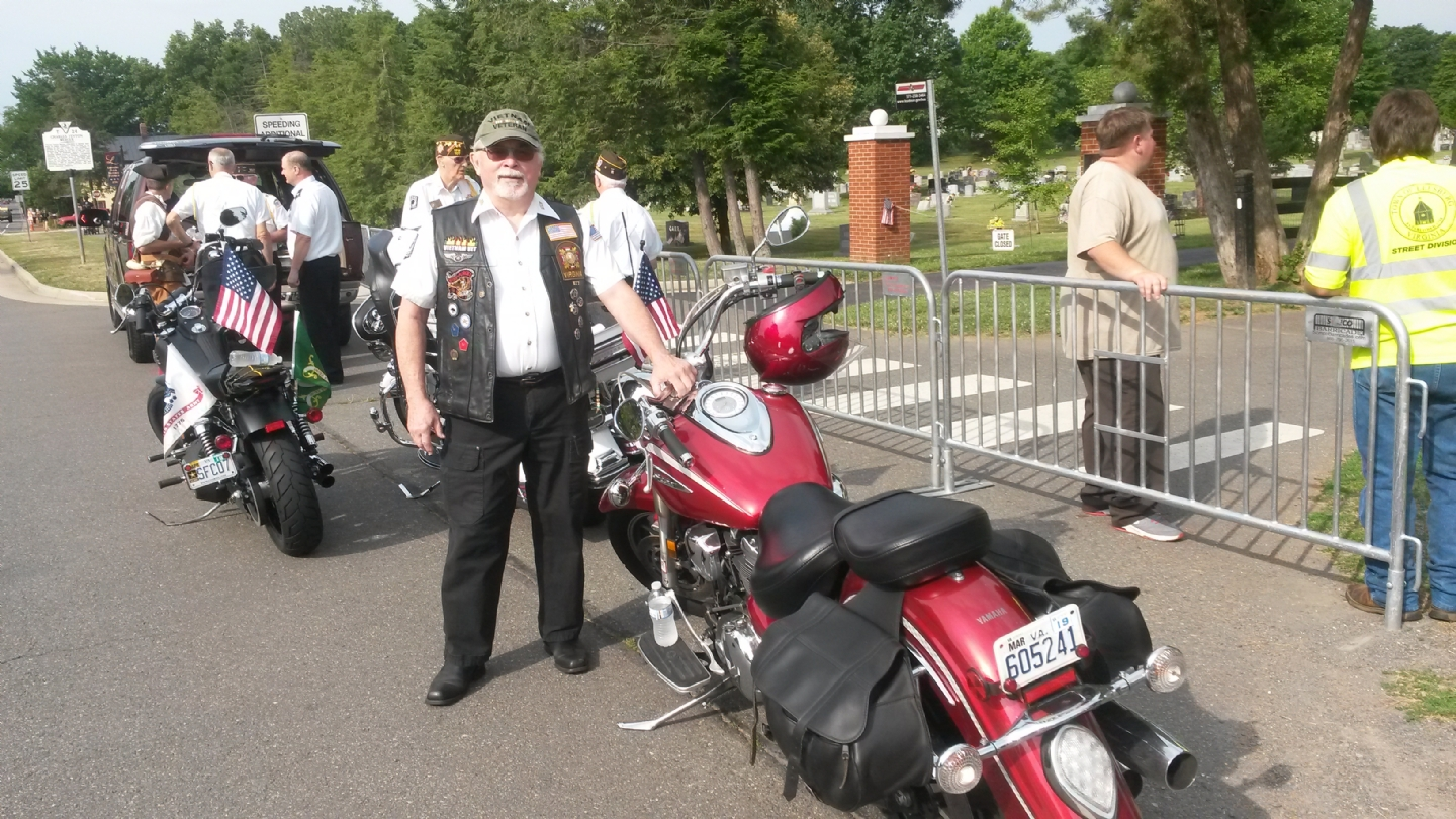 VFW Riders Gene Odum right before the 4th of July parade.