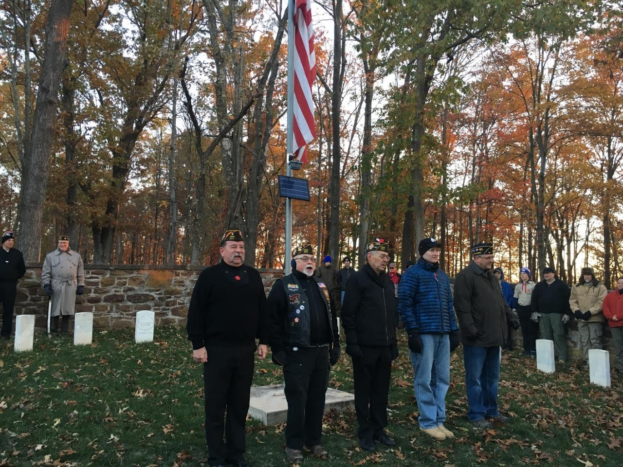 At the Veterans Day Sunrise Ceremony at Balls Bluff.