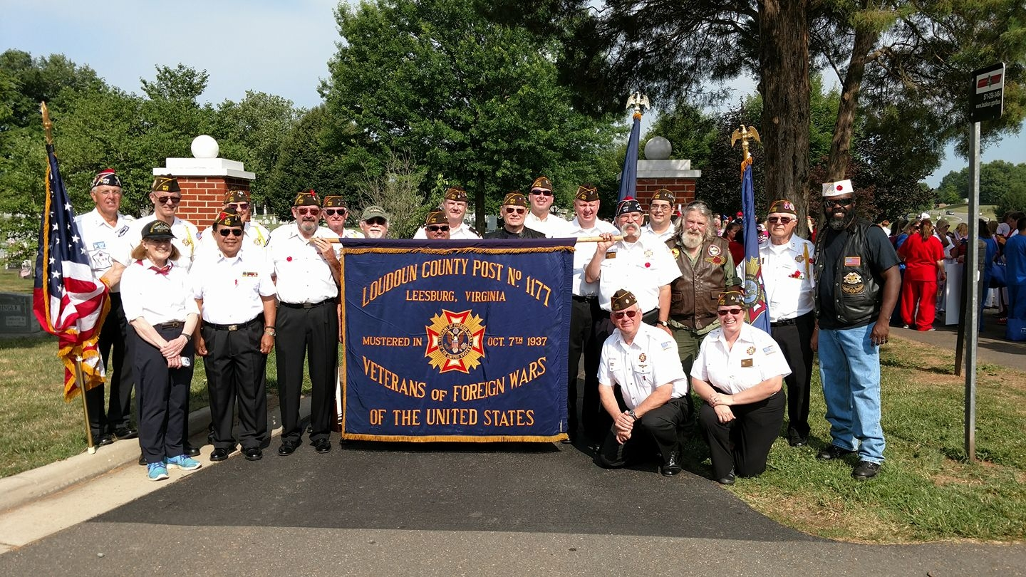 Members from the post gather for a group photo prior to the start of the Leesburg 4th of July Parade.