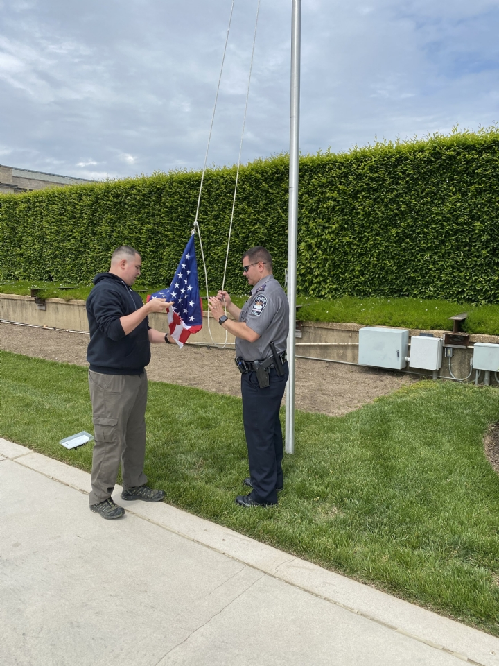 Flag Being Flown over Pentagon for Col Bob