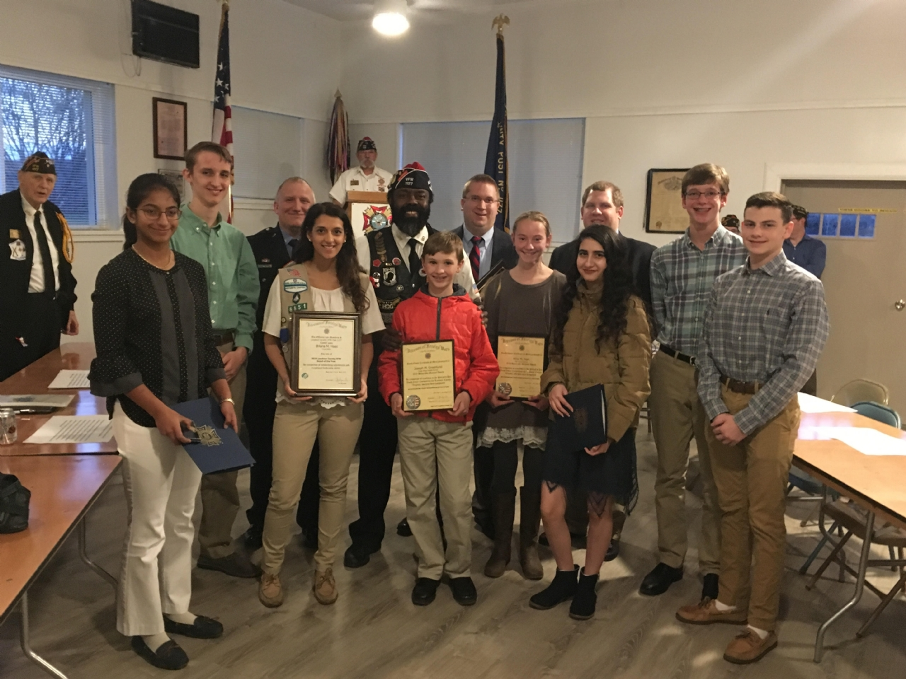 The 2017 Voice of Democracy and Patriots Pen winners along with Emergency Response Person of the Year, Law Enforcement Officer of the Year and Teacher of the Year.